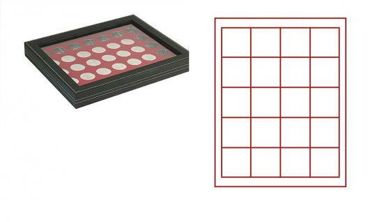 LINDNER 2367-2720E Nera M PLUS Münzkassetten Einlage Dunkelrot Rot mit glasklarem Sichtfenster 20 Fächer 47x47mm für 1 Dollar US Silver Eagle $ in Münzkapseln