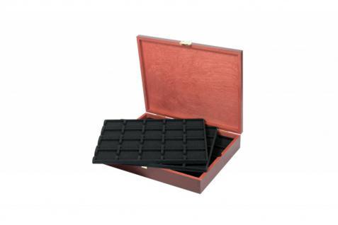 LINDNER S2495-S2122CE Echtholz Holz Münzkassetten 5 Tableaus 2122CE für 100 Münzrähmchen - Carre Octo Münzkapsen - Quadrum Münzkapseln