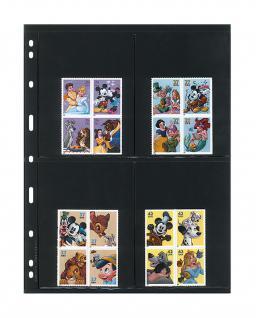 10 x LINDNER 079 UNIPLATE Blätter, schwarz 4 Taschen 97 x 128 mm Für Blocks Banknoten