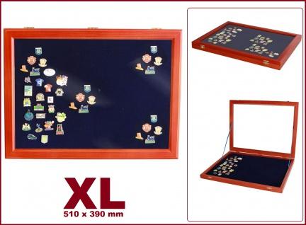 SAFE 5998 Echtholz Holz Sammelvitrinen im Mahagoni Finish Modell XL - Für Pins - Button - Schmuck