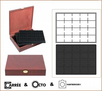 LINDNER S2495-S2122CE Echtholz Holz Münzkassetten 5 Tableaus 2122CE schwarz für 100 Münzrähmchen - Carre Octo Münzkapsen - Quadrum Münzkapseln