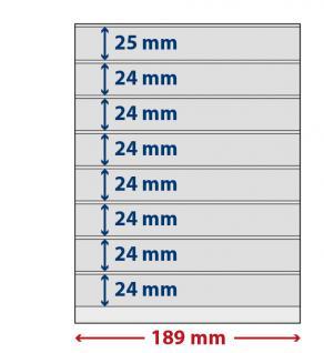 5 x LINDNER S802800H LINDNER-T freestyle Folienhüllen 8 Einsteckstreifen 24x189mm mit Klebestreifen