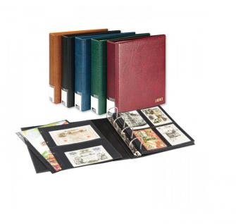 LINDNER 3506PK - W - Weinrot Rot Publica L Ringbinder Album Postkartenalbum - Fotoalbum + 20 Hüllen 4146 mit 4 Taschen 109x145 für 160 Postkarten Bilder Fotos