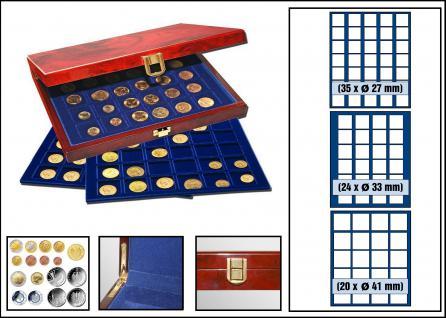 SAFE 5783 Premium WURZELHOLZ Münzkassetten mit 3 Tableaus MIXED 79 x Fächer für Münzen 27 - 41 mm - Vorschau 1