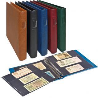 LINDNER 2815-H Banknotenalbum Ringbinder Regular Hellbraun Braun + 20 Einsteckblättern schwarz Mixed 850 & 851 mit 2 & 3 Taschen für Banknoten Geldscheine - Vorschau 1