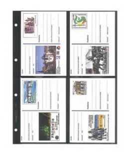 1 x LINDNER 4146 Einsteckhüllen Ergänzungsblätter Publica L A4 4 Taschen Schwarz 145 x 109 mm Für Banknoten - Briefmarken - Briefe - Fotos - Bilder - Urkunden