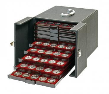 LINDNER 2310NW Boxen-Koffer NERA SCHWARZER Münzboxkoffer Koffer Gross befüllt für 10 Münzboxen oder 5 Sammelboxen FREIE AUSWAHL