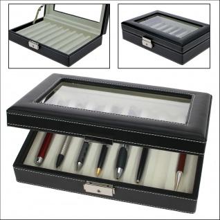 SAFE 73627 Skai Kassette Vitrinen Schwarz mit Glaseinsatz für 8 Schreibgeräte Kugelschreiber Füller Stifte