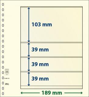 10 x LINDNER 802413P T-Blanko-Blätter Blankoblatt 18-Ring Lochung 4 Taschen 103 / 39 / 39 / 39x 189 mm