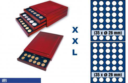 SAFE 6826 XXL Nova Exquisite Holz Münzboxen Schubladenelement 70 Runde Fächer x 26 mm Ideal für 2 EURO