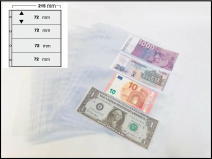 50 x SAFE 5476 Banknotenhüllen Hüllen Schutzhüllen Ergänzungsbätter DIN A4 mit 4er - 4C - Teilung 72 x 215 mm für bis zu 400 Geldscheine - Papiergeld - Banknoten