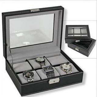 SAFE 217-1 Skai Uhrenkoffer Uhrenkassette Schwarz 6 extra großen Fächer + Uhrenhaltern in grau - anthrazit