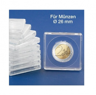2 x SAFE 3126 Quadratische Münzkapseln Münzdosen Square 50x50 mm glasklar für Münzen bis 26 mm - Ideal für 2 Euro - 1/2 Oz Maple Leaf Gold - 1/2 OZ Nugget/Känguru Gold - 1/4 OZ China Panda Silber
