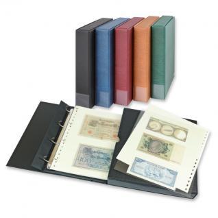 LINDNER 1100BNW-G Banknotenalbum Kassettenbinder Album ECO Grün + 20 Klarsichthüllen Einsteckblättern Mixed für Banknoten Geldscheine