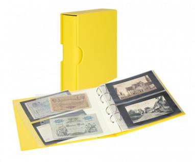 LINDNER S3542BN-9 Solino - Gelbes Banknotenalbum PUBLICA M COLOR + Kassette + 10 Banknotenblätter Mixed 2er / 3er Teilung