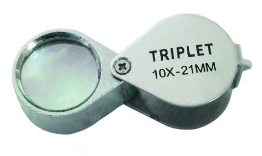 SAFE 9548 Metall Einschlaglupe Lupe 21 mm - 10 fache Vergößerung Triplet + Etui