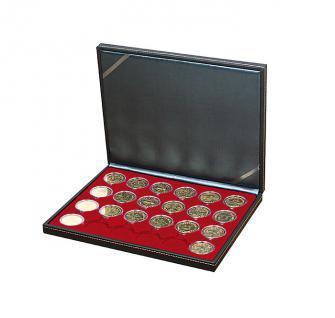LINDNER 2364-2624E Nera M Münzkassetten Dunkelrot Rot 30 runde Fächer für Roulette Poker Jetons Chips in Kapseln 41 mm