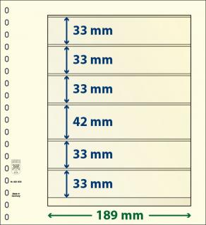 10 x LINDNER 802603P T-Blanko-Blätter Blankoblatt 18-Ring Lochung 6 Taschen 33 / 33 / 33 / 42 / 33 / 33 x 189 mm