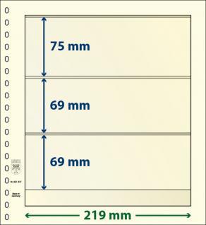 10 x LINDNER 802307P T-Blanko-Blätter Blankoblatt 18-Ring Lochung - 3 Taschen 75 / 69 / 69 x 219 mm