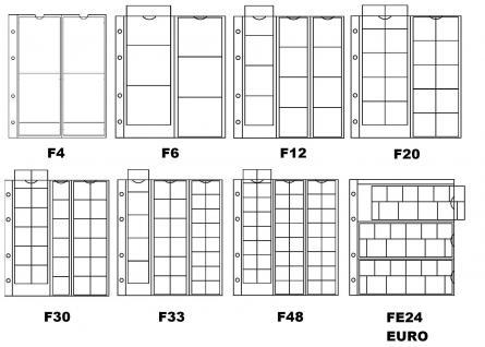 5 x KOBRA F6 Münzblätter Münzhüllen + weiße Zwischenblätter mit 6 Fächern für Münzen bis 72 x 64 mm - Vorschau 2