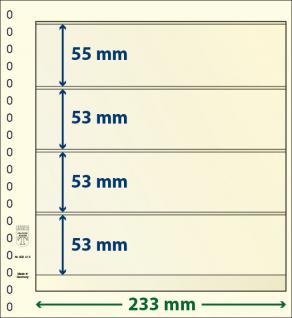 10 x LINDNER 802412P T-Blanko-Blätter Blankoblatt 18-Ring Lochung 4 Taschen 55 / 53 / 53 / 53 x 233 mm