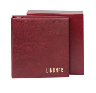 Lindner 1712 UNIPLATE Ringbinder Album Luxus Weinrot Rot mit 3 Ring - Mechanik + Schutzkassette (leer) zum selbstbefüllen
