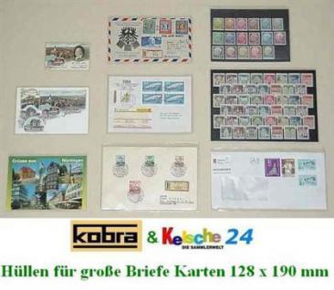 1000 KOBRA T33 Schutzhüllen Hüllen aus PPN Folie Briefe - Banknoten - Ansichtskarten 128 x 190 mm - Vorschau 2