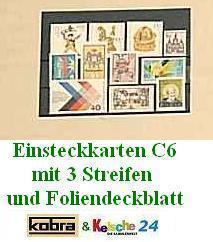 100 x C6 KOBRA VF3 Einsteckkarten Steckkarten Klemmkarten mit 3 Streifen + Folienschutzblatt für Briefmarken