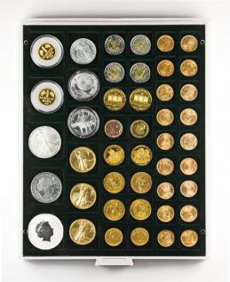 Lindner 2145C Münzbox Münzbox Carbo Schwarz 45 quadratische Vertiefungen 24 - 28 - 39 - 44 mm Münzen - Vorschau 1