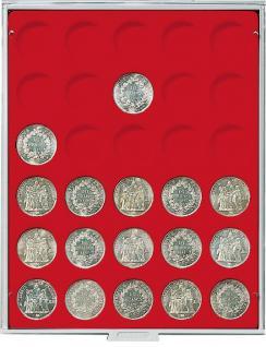 LINDNER 2161 MÜNZBOXEN Münzbox Standard Grau für 30 Münzen 37 mm Ø 1 Unze Philharmoniker Gold & Silber