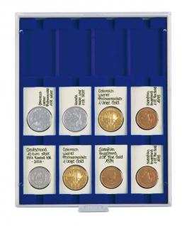 LINDNER 2170M Münzboxen Münzbox Marine Blau 50 x 70 mm eckigen Münzen & REBECK COIN L Münzrähmchen