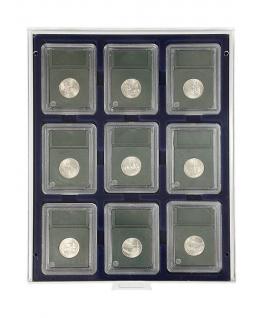 LINDNER 2219M MÜNZBOXEN Münzbox Marine Blau 9 x Münzen 64 x 86 mm Original US Münzen Slabs Münzkapseln