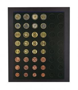 LINDNER 2486B-2506C Chassis Rahmen Münzenboxrahmen Münzvitrine MATTSCHWARZ + Münzbox Carbo Schwarz 6x komplette Euro KMS Kursmünzensätze 1, 2, 5, 10, 20, 50 Cent - 1, 2 Euromünzen