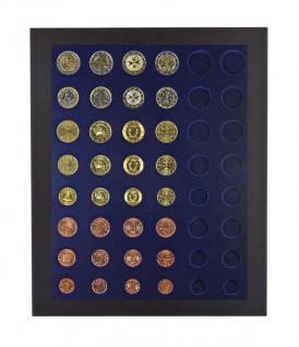 LINDNER 2486B-2506M Chassis Rahmen Münzenboxrahmen Münzvitrine MATTSCHWARZ + Münzbox Marine Blau Für 6x komplette Euro KMS Kursmünzensätze 1, 2, 5, 10, 20, 50 Cent - 1, 2 Euromünzen