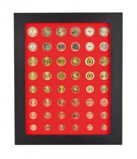 LINDNER 2486B-2506 Chassis Rahmen Münzenboxrahmen Münzvitrine MATTSCHWARZ + Münzbox Standard 6x komplette Euro KMS Kursmünzensätze 1, 2, 5, 10, 20, 50 Cent - 1, 2 Euromünzen