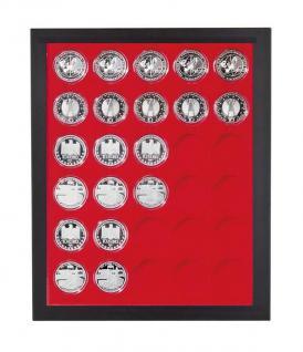 LINDNER 2486B-2537 Chassis Rahmen Münzenboxrahmen Münzvitrine MATTSCHWARZ + Münzbox Standard Für Deutsche 10 - 20 Euromünzen in original Münzkapseln 32, 5 PP