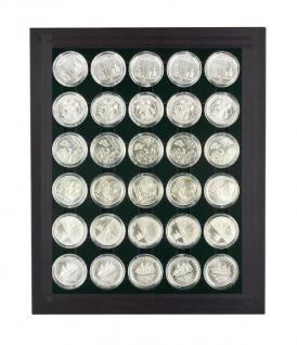 LINDNER 2486B-2537C Chassis Rahmen Münzenboxrahmen Münzvitrine MATTSCHWARZ + Münzbox Carbo Schwarz Für Deutsche 10 - 20 Euromünzen in original Münzkapseln 32, 5 PP