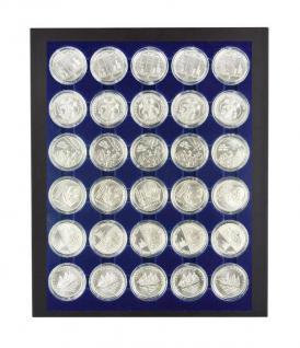 LINDNER 2486B-10EUROPP 2537M Chassis Rahmen Münzenboxrahmen Münzvitrine MATTSCHWARZ + Münzbox Marine Blau 10 Euromünzen in original Münzkapseln 32, 5 PP