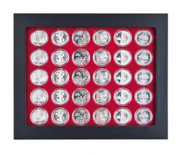 LINDNER 2486B-2937 Chassis Rahmen Münzenboxrahmen Münzvitrine MATTSCHWARZ + Münzbox Rauchglas 10 - 20 Euromünzen in original Münzkapseln 32, 5 PP