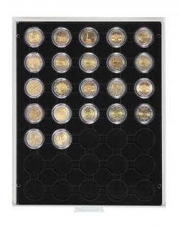 LINDNER 2530C Carbo Schwarz Münzbox Münzboxen 35x 32 mm 2 EURO 50 EURO Cent in Münzkapseln Standard