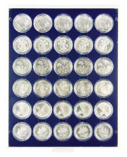 Lindner 2537M Münzbox Münzboxen Marine Blau 30 x 37 mm für Deutsche 10 & 20 Euromünzen in original Münzkapseln PP ohne Rand