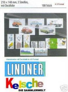 100 x KOBRA VT5 A5 Einsteckkarten Steckkarten Klemmkarten 5 Streifen + Schutzfolie VT5 für Briefmarken Banknoten - Vorschau 1