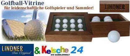 LINDNER Golfball Vitrine Luxus Nussbaum Vollholz 24