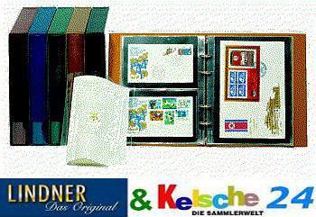 LINDNER 1403 - H Doppel FDC Album Ringbinder Rondo Regular Hellbraun - Braun + 10 Hüllen MU1404 geteilt 2 Taschen - Vorschau 2