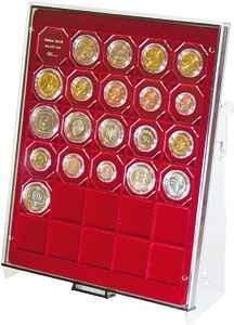LINDNER 2187 Münzbox Münzboxen - Aufsteller aus transparentem Acrylglas Präsentation