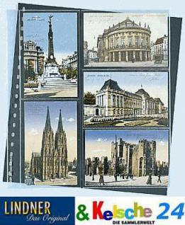 10 x LINDNER 826P Postkarten Klarsichthüllen Schwarz 2 senk - 3 waagerechte Taschen 95x143 mm Für alte Postkarten Ansichtskarten - Vorschau 1
