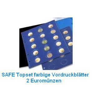 18 x SAFE 1866 Set TOPset farbige Vordruckblätter für Safe Münzblätter Münzhüllen 7854 - 2 Euromünzzen 2002 - 2015