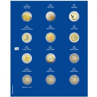 1 x SAFE 7302-9 TOPset Münzblätter Ergänzungsblätter Münzhüllen mit farbigem Vordruckblatt für 2 Euromünzen Gedenkmünzen in Münzkapseln 26 - 2011 - 2012