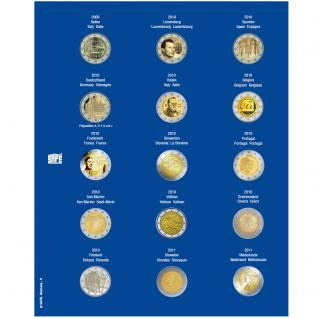 1 x SAFE 7822-6 TOPset Münzblätter Ergänzungsblätter Münzhüllen Münzblatt mit farbigem Vordruckblatt für 2 Euromünzen Gedenkmünzen 2009 - 2010 - 2011 - Vorschau 1