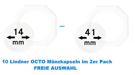 10 x LINDNER OCTO Münzkapseln Münzenkapseln Capsules Set 14 - 41 mm alle Grössen / Durchmesser Freie Auswahl